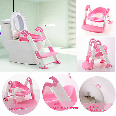 Kids Pink Toilet Potty Trainer Ladder Seat 3 In 1 Step Foldable Portable Chair