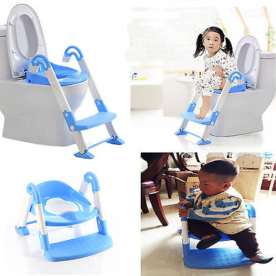 Teddie Kids Baby Child Toddler Potty Loo Training Toilet Seat & Step Ladder Blue