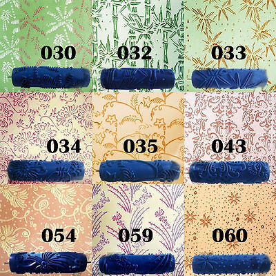 7'' Embossed Paint Roller Case Wall Texture Stencil Brush Flower Pattern Deco NM