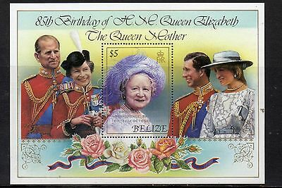 5 X BELIZE 1985 QUEEN MOTHER'S 85th BIRTHDAY MS831 MSHEET MNH