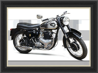 Bsa A10 Gold Flash Motorcycle Print / Classic Bike Poster