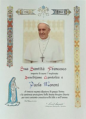 Mod 3 Official Personalized Pope Blessing Certificate From Vatican W/ Papal Seal