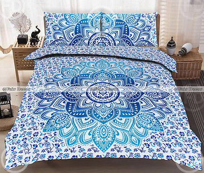 Queen Size Blue Floral Ombre Bohemian Boho Duvet Quilt Cover With Pillowcovers