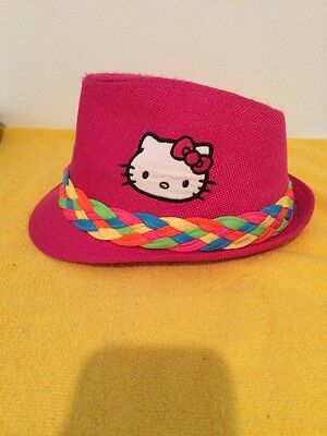 Hello Kitty Pink Fedora Hat With Neon Multi Color Band Girls Hat Cap Kids