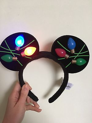 Disney Parks Christmas Xmas Light Up Mickey Mouse Ears