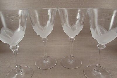 Cris D' Arques Durand Crystal FLORENCE Water Goblets - Set of Four