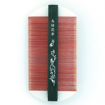 Antique Chinese Lice Nit Hair Comb Bone Asian Fine Tooth Red Bamboo