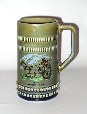 "Wade Stein Mug Tankard Irish Jaunting Car 20oz Porcelain 6.5"" Ireland"