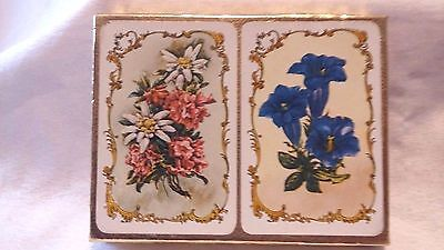 Vintage Piatnik Twin Pack Of Floral Playing Cards In Hardly Used Condition