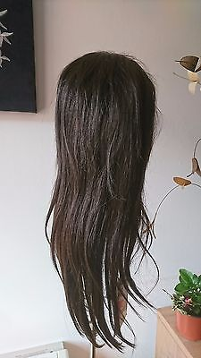 100 % human hair lace front- wig,  sleek Pizzzz H/H 2, natural brown straight