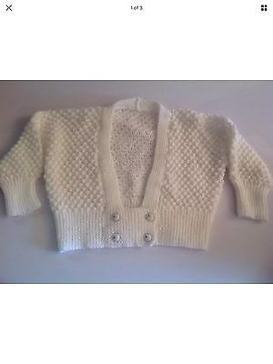 Hand Knitted Child White Cardigan Size 2