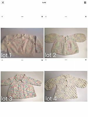 Hand Knitted Or Crocheted,Pastel Cardigan Jacket Jumper Size 00