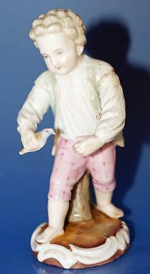 Antique Sitzendorf German Continental Porcelain Boy Figurine Bird Catcher a/f