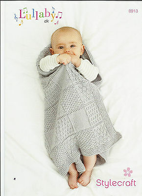"Stylecraft Lullaby 8913  Baby Panel Blanket Double Knitting Pattern 25"" X 27"""