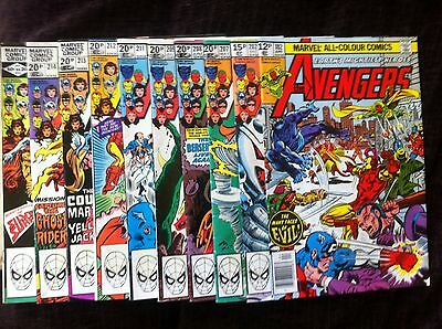 10x High Grade Marvel Bronze Age Comics The Avengers #182-#215