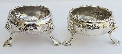 FINE PAIR OF EARLY VICTORIAN ENGLISH SILVER SALTS c.1864