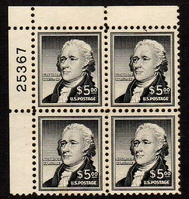US Stamps: 1053 ($5 Hamilton) Plate Block Mint, o.g., Very Fine, Never Hinged
