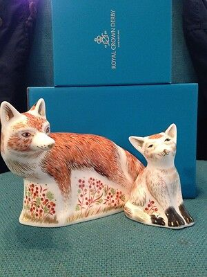 Royal Crown Derby Fox Mother And Cub Special Price