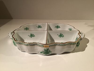Herend Green Chinese Bouquet 4 Section Hors D'Oeuvre Relish Dish Tray 442 AV
