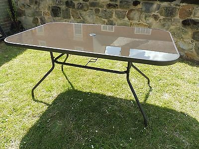 6 Seater Rectangular Glass and Metal Garden Dining Table Outdoor Furniture