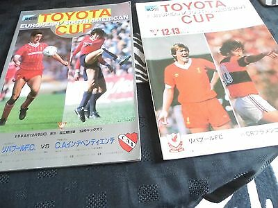 2 Toyota Cup football programmes 1981/84 Liverpool v Flamenco/Independiente