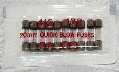 RS Components 20mm 3A Quick Blow Fuse (Pk of 10)