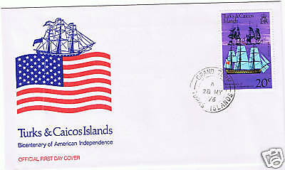 Turks & Caicos #312 1976 20 cent American Bicentennial Unused