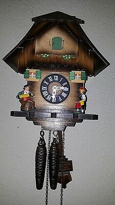 """GERMAN BLACK FOREST CUCKOO CLOCK - CHALET WITH CHIMNEY SWEEP ,11""""tall"""