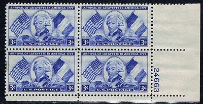 United States #1010(1) 1952 3 cent Lafayette LOWER RIGHT PLATE BLOCK MNH