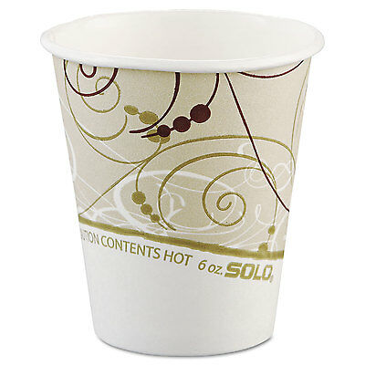 Paper Hot Cups In Symphony Design, Polylined, 6oz, Beige/white, 1000/carton-SCC3