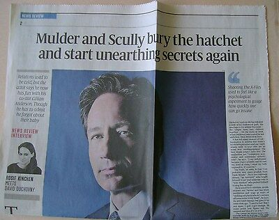 DAVID DUCHOVNY interview - newspaper clipping / cutting