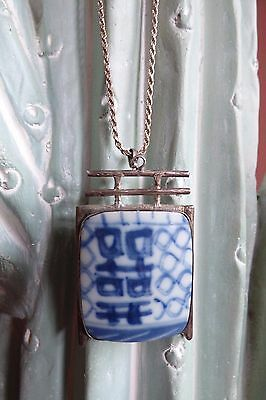 Sterling Necklace and Pendant with antique chinese blue white pottery shard