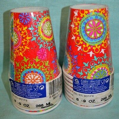 2X Packs = 16 Cups Total Hot COLD Del SOL PARTY 9 oz each Paper Swirl Red Blue