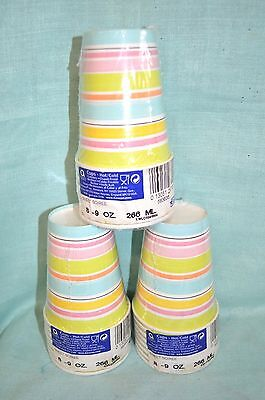 3X Packs = 24 Cups Total Soiree Hot COLD  PARTY 9 oz each Paper Stripes Pastel