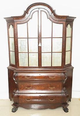 Antique Dutch Marquetry Bookcase , Display Cabinet .Great TV Cabinet