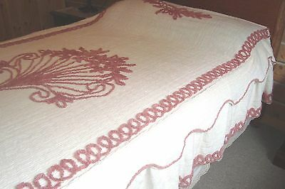 Very Nice Cream Beige Brown Chenille Bedspread with dust ruffle Double