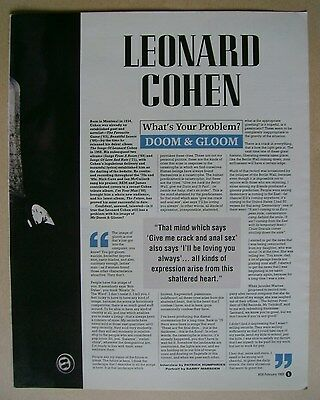 LEONARD COHEN - magazine clipping / cutting from 1993