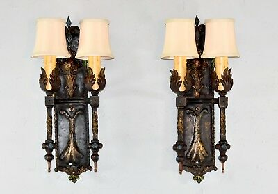 Pair Of Gothic Revival Iron Wall Sconces Hammered Hand Painted Detail