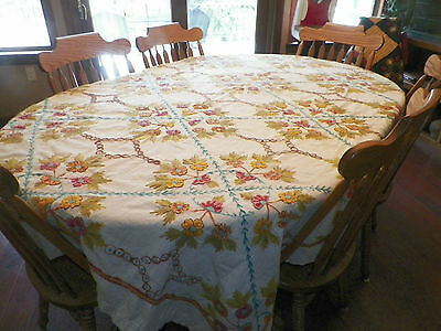Gorgeous Old Antique Vintage Embroidered Flower / Floral Tablecloth 66x95""