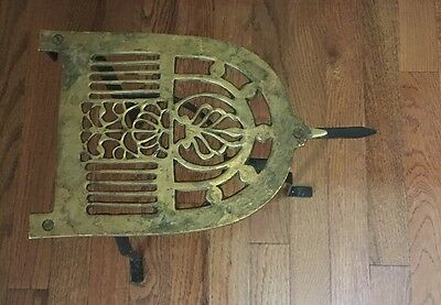 Vintage Wrought Iron And Brass Fireplace Fender Trivet Pot Kettle Warming Stand