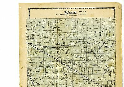 1874 Map of Ward, Indiana, with family names, from Atlas of Randolph County rare