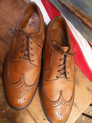 Vtg Florsheim Imperial 9.5 3E Wide Leather Oxford Shoes Brown V-Cleat Kenmoor