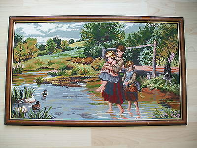 Framed Hand Stitched Landscape people near river Woollen Tapestry 64 x 39 cm