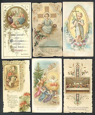 Lot Of 6  Large Antique Lithograph - Catholic Holy Cards - 5 X 2 4/5 Inches