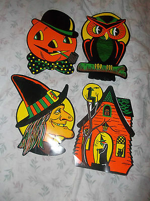 Beistle Co. Die-cut Set of 4 Vintage Decorations, Made in USA, EUC