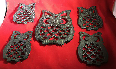 EC Lot/Set of 5 Owl Trivets Black/Cast Iron, 1 Large & 4 Small Hang or Tabletop