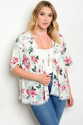 Women Plus Size Cream Kimono Top Blouse Shirt Lace Casual Boho Relaxed Fit Layer