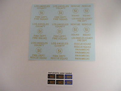 Rescue 51 Squad 51 Water Slide Decals for 1/24 1/25 Model Vehicles