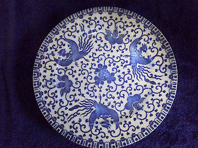 """ANTIQUE early 1900's JAPANESE BLUE AND WHITE PLATE 8 ¼"""""""