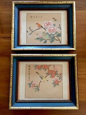 Vintage Pair Chinese Silk Painting Birds Blossoms Signed Elaborately Framed
